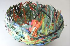 papier mache bowl made of shredded paper upcycle office waste :-) Paper Mache Bowls, Paper Bowls, Paper Mache Crafts, Diy Paper, Paper Art, Cardboard Paper, Crafts To Make, Crafts For Kids, Origami