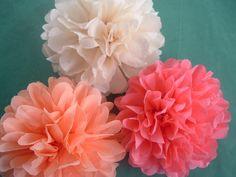 Tissue paper pom poms Wedding decorations Baby shower by PomMagic