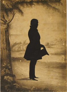 Silhouette Portrait of a Man Standing in a Landscape | Sale Number 2570M, Lot Number 858 | Skinner Auctioneers