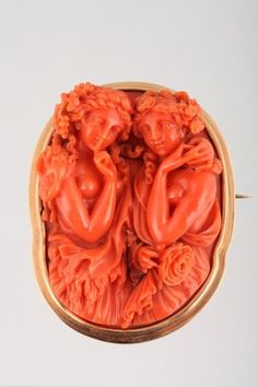 Exceptional coral cameo (XIX century) This was the color or my cameo that I wore on my wedding day, but it was stolen from my bedroom when we had some remodeling done...SO SAD