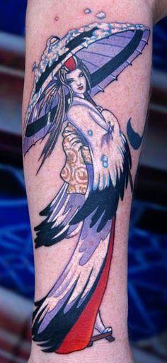 So beautiful! Crane Geisha half sleeve tattoo by LITOS.