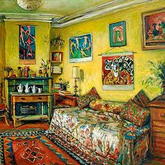 Margaret Olley 1923-2011 Yellow Room, Afternoon (1990) oil on board 76 x 76cm.