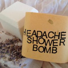 Headache Relief Shower Bomb - Aromatherapy - Spa Treatment by JuniperEarth on Etsy https://www.etsy.com/listing/130013176/headache-relief-shower-bomb-aromatherapy