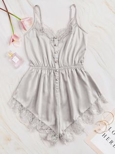 To find out about the Lace Trim Satin Cami Romper at SHEIN, part of our latest Sexy Lingerie ready to shop online today! Lingerie Outfits, Lingerie Sleepwear, Lingerie Set, Nightwear, Bodysuit Lingerie, Night Outfits, Cute Outfits, Outfit Night, Ropa Interior Babydoll
