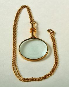 Vintage Magnifying Glass Necklace Gold tone by StraightFromOregon, $13.99