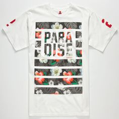 Asphalt Yacht Club Paradise Visions tee. Tropical print bars with stacked Paradise text screened on front. 2 screened on short sleeves. Crew neck. 100% cotton. Machine wash. Imported.
