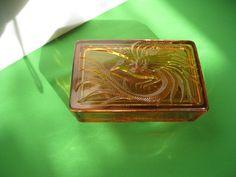Indiana Glass Tiara Coral Empress Bird Paradise Trinket Box #teamsellit #bonanza
