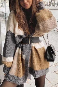 Color Block Cardigan – Chiclotte Cute Casual Outfits, Simple Outfits, Pretty Outfits, Stylish Outfits, Beautiful Outfits, Girly Outfits, Winter Outfits Women, Winter Fashion Outfits, Fall Outfits