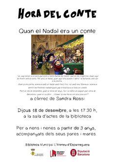 """Dijous a les 17.30h Hora del Conte especial """"Quan el Nadal era un conte"""", a càrrec de la Sandra Rossi"""