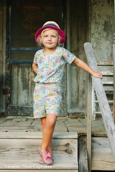 Floral Top Knot Romper Pattern by Chalk and Notch