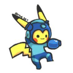 Pikachu - Megaman by mnrART on @DeviantArt
