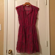 Urban Outfitters Pink Dress Size Small Pink dress with gray stripes and buttons down the chest and has an elastic waist. Comes with pink slip dress. Urban Outfitters Dresses