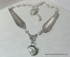 Items similar to Spoon Jewelry, Necklace created from two vintage silverware pieces. Faux glass pearls on Etsy