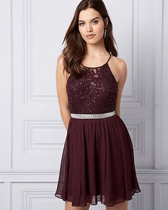 Sequin Lace & Chiffon Cocktail Dress - Hit the dance floor in this fanciful cocktail dress, designed with a romantic lace bodice and full chiffon skirt. Lace Chiffon, Chiffon Skirt, Romantic Lace, Prom Dresses, Formal Dresses, Short Prom, Lace Bodice, Cocktail, Sequins
