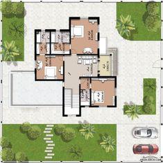 Three Bedroom House Plan, Villa Plan, Foyer Design, Box Houses, Ground Floor Plan, House Floor Plans, How To Plan, Ideas, Home