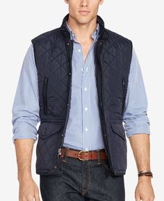 Fully lined with soft cotton and lightly filled, this Polo Ralph Lauren vest is great for layering in trans-seasonal weather.   Shell: nylon; lining: cotton   Hand wash   Imported   Size Big 2X has an