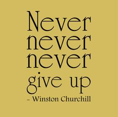 Winston Churchill Quote 'Never never never give up' Vinyl Wall