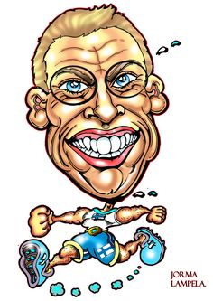 Karikatyyri Alexander Stubbista / Caricature of Alexander Stubb by caricature artist Jorma Lampela