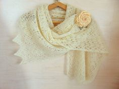 Bride Wedding Knitted Shawl Shoulder Knit Wrap White Lace