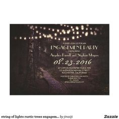 string of lights rustic trees engagement party card