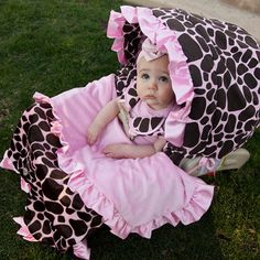 Baby Bella Maya Ginny Giraffe Car Seat Cover & Blanket Set