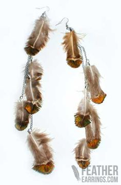 Love! Premium Natural Tone Extra Long Peacock Feather Earrings  $26.99