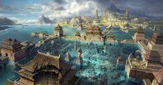 Afbeeldingsresultaat voor fantasy worlds castle Fantasy Artwork, Fantasy Concept Art, Fantasy Art Landscapes, Fantasy Landscape, Landscape Art, Fantasy City, Fantasy Castle, Fantasy Places, Fantasy World