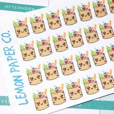 Cute stickers for your Erin Condren, MAMBI, Kikki K, Filofax planners, scrapbooks or anything you like!  Each sticker sheet is 5.5 x 2.75.  DETAILS:
