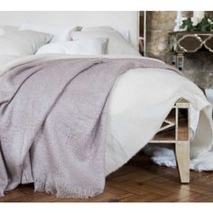 Pauline's Pretty Mink Throw - Luxurious soft and snuggly faux mohair French Bedroom throw