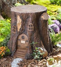 Image result for tree stump gnome houses