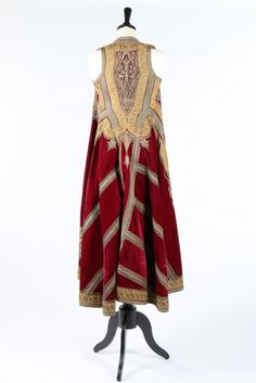 An embroidered wine velvet surcoat, Ottoman empire, late 19th century.
