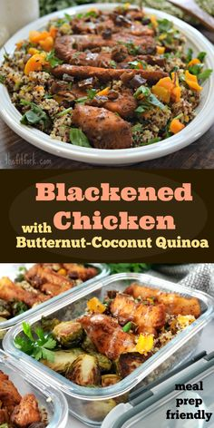 [ad] Blackened Chicken with Butternut-Coconut Quinoa – Dinner, Meal Prep - Ad Blackened Chicken with Butternut-Coconut Quinoa, a dinner and/or lunch meal prep using Blackened Chicken Strips found 30 Min Dinner, Dinner Meal, Clean Eating Dinner, Lunch Meal Prep, Easy Clean Eating Recipes, Clean Eating For Beginners, Quick Healthy Meals, Coconut Quinoa, Blackened Chicken