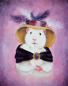 Beatrice Buttercream a Victorian Guinea Pig via Etsy. - This is a handmade fine art print made from my original acrylic painting of the lovely Beatrice Buttercream, the Victorian guinea pig. With an elegant beplumed hat spilling over with flowers, and her deep purple velvet shawl held in place with an amethyst brooch, Beatrice is equally ready for a round of bridge at tea or a night on the town!