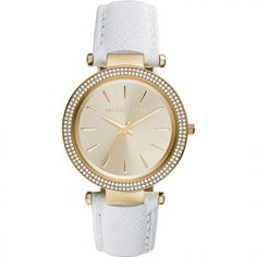 With a gold-tone case, pave crystal details and a crisp white leather strap, Darci is the ultimate city-sleek watch. Michael Kors Gold, Handbags Michael Kors, Michael Kors Watch, Ring Watch, Watch Bands, Bracelet Watch, Mk Watch, Elegant Watches, Watch Sale