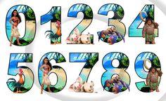 Alfabeto de Moana 35 y número imágenes fiesta evento carta