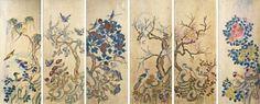 88: Set of 6 Korean Traditional Bird & Flower Painting