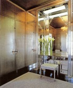 Dressing Room designed by Frances Elkins, c. 1937 how could I not feel glamourous getting dressed here? (But who's gonna hang up and put away my clothes so the doors shut?? Hmmm)