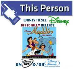 "Share this Campaign Tile on your Social Account news feed and help create buzz for #AladdinTheSeries: THE COMPLETE SERIES on DVD/Blu-ray!  Also make sure to sign our ""Disney Afternoon-era on DVD"" petition today!"