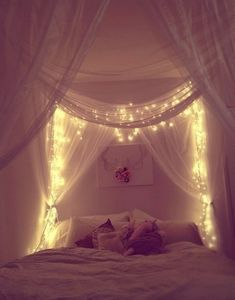 Curtain headboard with lights dream bedroom, fairytale bedroom, dream rooms, home bedroom, Dream Bedroom, Home Bedroom, Master Bedroom, Bedroom Drapes, Light Bedroom, Magical Bedroom, Pretty Bedroom, Fairytale Bedroom, Canopy Bed With Curtains