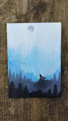 Wolf Painting, Mountains Painting, Galaxy Canvas Painting, Forest Painting, Forest Canvas, Mountains Canvas, Wolf Canvas by TheMindBlossom