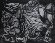 'Both Fall' by Clive Hicks-Jenkins from the Mari Lwyd series of paintings, 2002 (Conté on Arches Paper) Green Knight, Social Realism, Toy Theatre, Arches Paper, Conte, Cool Drawings, Shadow Box, Illustrators, The Darkest