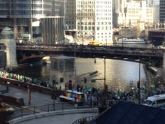 Dying the Chicago River green on St. Patrick's Day!