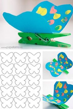 Butterfly Clothespins with Templates Fall Crafts For Kids, Summer Crafts, Toddler Crafts, Preschool Crafts, Easter Crafts, Diy For Kids, Diy And Crafts, Arts And Crafts, Butterfly Crafts