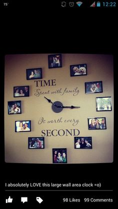 Grande horloge avec cadres photos