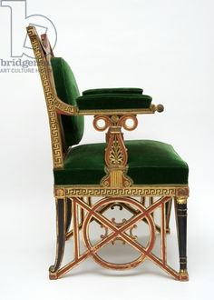 Fauteuil, c.1785-90 (softwood with gilding & green velvet), Jacob, Georges (1739-1814) / © The Bowes Museum, Barnard Castle, County Durham, UK / Bridgeman Images