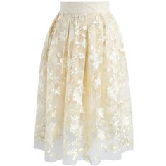 Chicwish Sunlight Blossom Embroidered Mesh Skirt in Yellow (65 NZD) ❤ liked on Polyvore featuring skirts, yellow, mesh skirt, embroidered skirt, white embroidered skirt, white mesh skirt and flower skirt