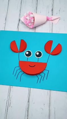 This simple DIY paper crab is so cute and funny for kids. gift videos Easy DIY Crafts for Kids-Cute Paper Crab-DIY Tutorial Diy Crafts For Kids Easy, Animal Crafts For Kids, Summer Crafts For Kids, Paper Crafts For Kids, Craft Activities For Kids, Toddler Crafts, Preschool Crafts, Fun Crafts, Art For Kids