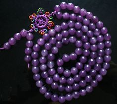Tibet Natural Purple Jade Stone 108 0.3inch Beads Buddhism Buddha Prayer Mala Necklace by AnneJewelryAcc, $8.5