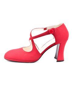 Red fabric Prada pumps