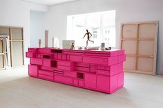 We love this daring all-over pink on this quirky chest of multiple drawers! Image courtesy of Isa-Mo.
